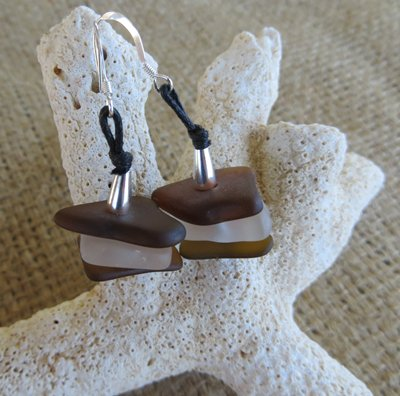 Golden Brown & Frosty White~6 Piece Sea-Glass Nugget Earrings
