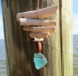 Ocean-Smoothed Aqua Seaglass Bottle Lip & Driftwood Ornament