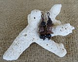 Genuine Brown Bahamas Out-Island Sea-Glass Earrings
