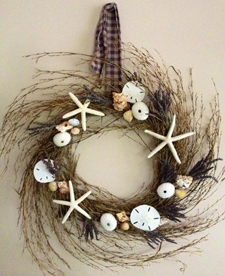 Calming & Relaxing Lavendar & Sea Treasures Wreath