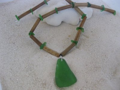 Organic Costa Rica Bamboo & Mint Green Sea Glass Necklace