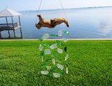 Peaceful Green and White Sea Glass Wind Chime